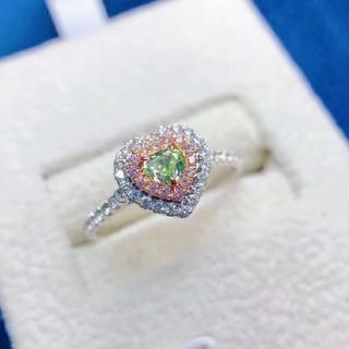 ♡ハートシェイプ グリーンダイヤモンドリング(リング(指輪))