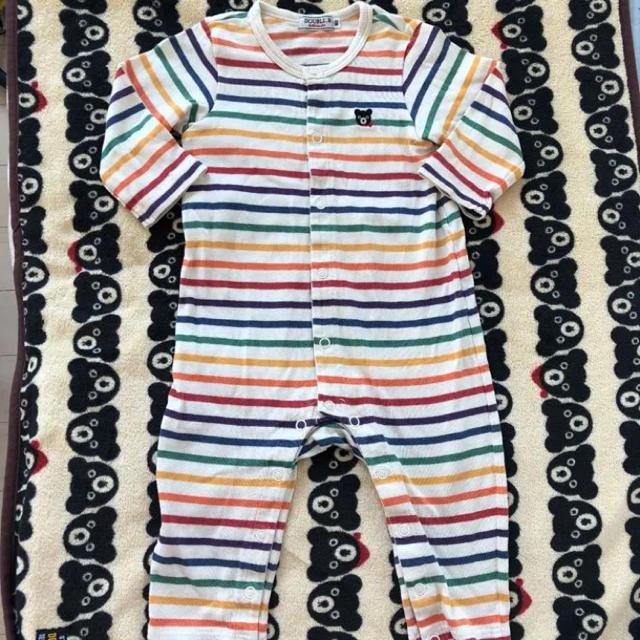 DOUBLE.B(ダブルビー)のミキハウス ダブルB ロンパース 80 カバーオール 男の子 女の子 パジャマ キッズ/ベビー/マタニティのベビー服(~85cm)(ロンパース)の商品写真