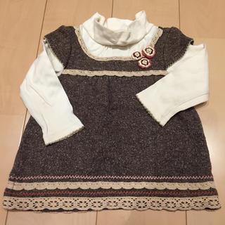 サンカンシオン(3can4on)の重ね着風 カットソー♢チュニック♢90㎝(Tシャツ/カットソー)