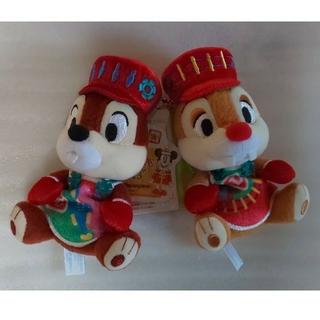 チップアンドデール(チップ&デール)のディズニーランド 30周年 クリスマス チップとデール ぬいぐるみバッジ ぬいば(キャラクターグッズ)