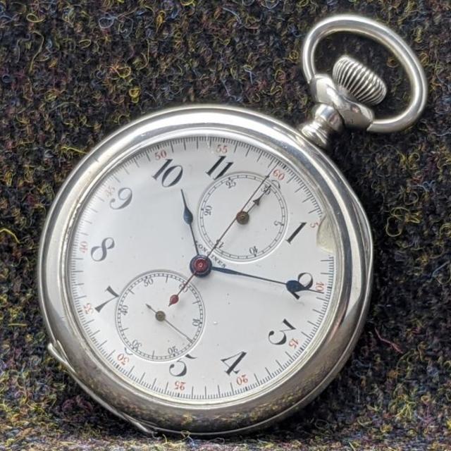 ロレックス レディース スーパーコピー 時計 / LONGINES - 1907年 アンティーク 動作良好 ロンジン 銀無垢 クロノグラフ 懐中時計の通販