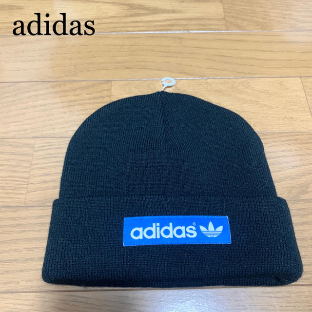 adidas(アディダス)の★未使用★アディダスオリジナルス ビーニー ニット帽 黒 青 ロゴマーク メンズの帽子(ニット帽/ビーニー)の商品写真