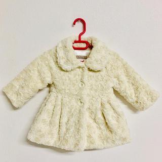 プティマイン(petit main)の美品✩.*˚中綿入りファーコート アイボリー バックリボン韓国子供服(コート)