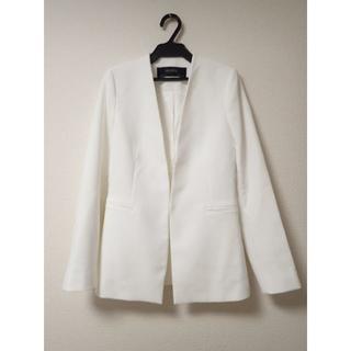 ザラ(ZARA)のZARA BASIC ノーカラージャケット 白 ホワイト(ノーカラージャケット)