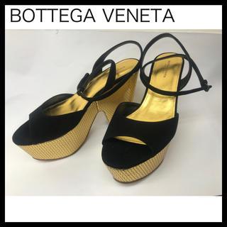 ボッテガヴェネタ(Bottega Veneta)のボッテガヴェネタ スエードゴールドカラーハイヒールサンダル 38 スエード(サンダル)