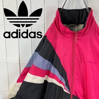 アディダス(adidas)のアディダス 胸ロゴ マルチカラー 銀タグ ゆるだぼ 90s ナイロン ブルゾン(ナイロンジャケット)