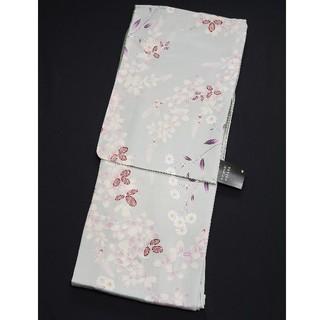 新品ナカノヒロミチ 仕立上り洗える着物 袷せ L ポリエステル シルバーグレー花(着物)