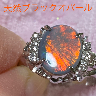 PT🌑天然 ブラックオパールリング(リング(指輪))