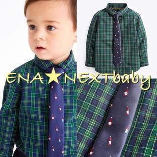 ネクスト(NEXT)のnext♡ネクスト グリーン チェックシャツ&ネクタイ セット(シャツ/カットソー)