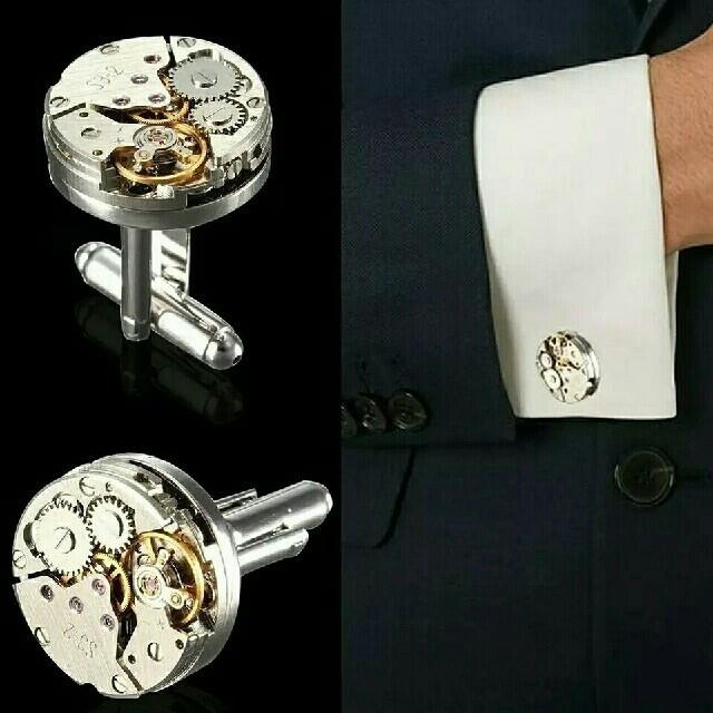本物の時計のムーブメントのカフスボタンです。の通販