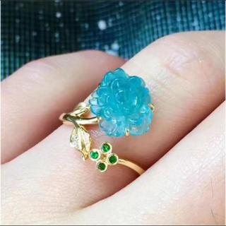 トルマリン ブレスレット ブルー 高級  ツァボライト ダイヤ k18(リング(指輪))