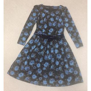 エムズグレイシー(M'S GRACY)のM'S GRACY エムズグレイシー ♡ 薔薇柄の長袖ワンピース 36 ブルー(ひざ丈ワンピース)