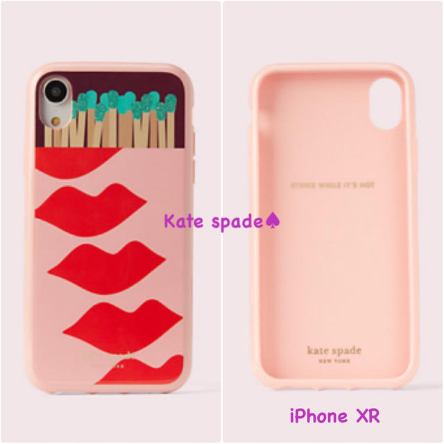 kate spade new york - 新品 未使用 ケイトスペード iPhone case XR リップ 柄 ピンクの通販