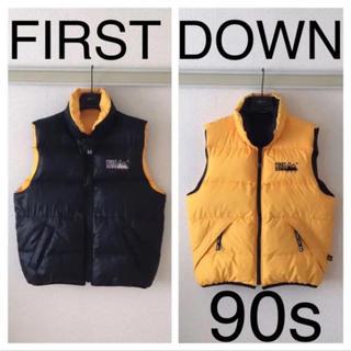 90s◆FIRST DOWN ファーストダウン◆ダウンベスト リバーシブル L(ダウンベスト)