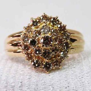 コニャックブラウンの輝くダイヤが素敵なK18YG製デザインリング1CT指輪!!(リング(指輪))