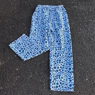 パナマボーイ(PANAMA BOY)のused 古着屋 レオパード ヒョウ柄 パジャマパンツ 青(カジュアルパンツ)