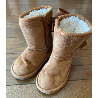 プティマイン(petit main)のプティマイン リボン ムートンブーツ キャメル 茶色 靴 キッズ 16(ブーツ)