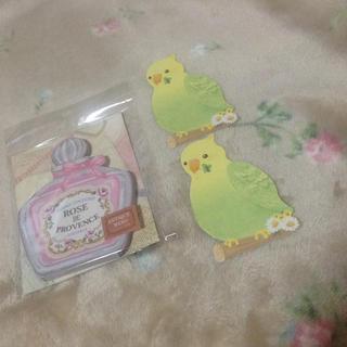 アンティーク メモ 香水瓶 インコのカード 2枚付き(ノート/メモ帳/ふせん)