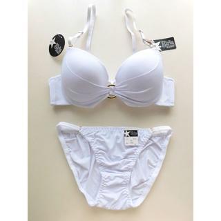新品♥ホワイト リング  B75 盛り ブラ&ショーツセット ビキニ 白(ブラ&ショーツセット)