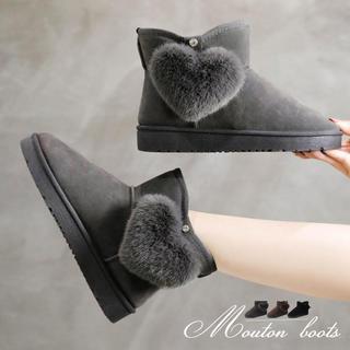 ♥ ムートンブーツ ショートブーツ ムートン 靴 秋冬 裏起毛 ボア ファー(ブーツ)