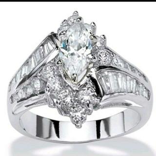 ヴィンテージシルバー AAA級CZダイヤリング ジュエリー 指輪    宝石(リング(指輪))