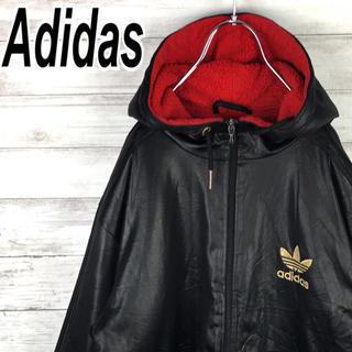 アディダス(adidas)のアディダス ナイロン ブルゾン スリーライン 中綿 フリース パーカー ゆるだぼ(ナイロンジャケット)