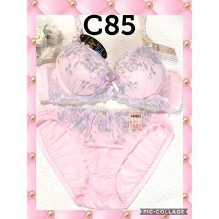 ブラジャー&ショーツ♡C85☆可愛いピンク生地にグラデーションフラワー柄刺繍♡(ブラ&ショーツセット)