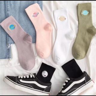 ウィゴー(WEGO)の靴下 韓国 原宿 秋 冬 古着 かわいい ソックス パナマボーイ 宇宙柄(ソックス)