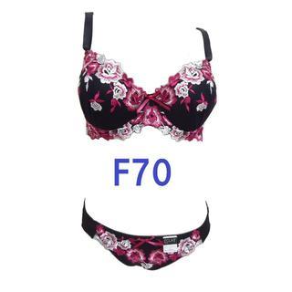 F70/M・ブラック|レッド 大花柄刺繍ブラジャー&ショーツ グラマーカップ(ブラ&ショーツセット)