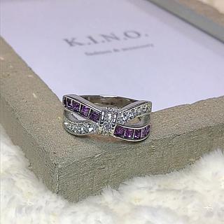 紫×白 リボンみたいな クロスモチーフリング(リング(指輪))