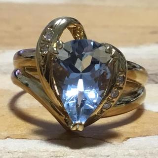 綺麗な透明感✨ブルートパーズ✨ペアシェイプ✨ダイヤ✨リング✨11号✨指輪(リング(指輪))