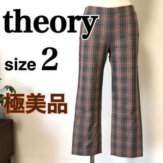 セオリー(theory)の極美品 theory  セオリー パンツ 2 M クロップド チェック柄(クロップドパンツ)