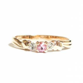 3号 スワロフスキー ピンキー ハートフェイス ライトローズ ピンクゴールド指輪(リング(指輪))