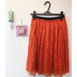 オレンジスカート(ひざ丈スカート)