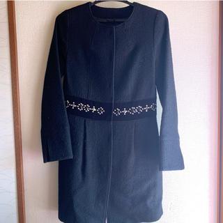 ビアッジョブルー(VIAGGIO BLU)のおすすめ❤ビアッジョブルー ビジュー ノーカラーコート  size1(ノーカラージャケット)