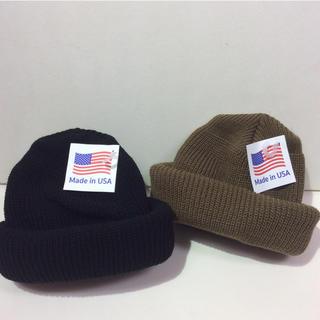 ロスコ(ROTHCO)のロスコニット帽 ブラック&コヨーテ 新品(ニット帽/ビーニー)