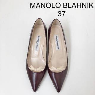 MANOLO BLAHNIK - 極美品 ★ マノロブラニク  リボンパンプス 37 ミドルヒール