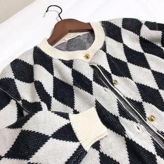 アメリヴィンテージ(Ameri VINTAGE)のvintage knit cardigan ダイヤ柄 レトロ カーディガン(カーディガン)