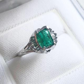 天然エメラルド1.50ct 天然ダイヤモンド0.34ct ptリング8.7g(リング(指輪))