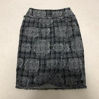 シャネル(CHANEL)の美品 シャネル CHANEL スカート カメリア ツイード りぼん ラップ ラメ(ひざ丈スカート)