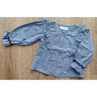 WILL MERY - WILL MERY フリルリボンシャツ ブルーグレー 90cm