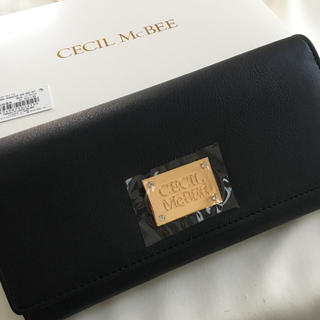 セシルマクビー(CECIL McBEE)の新品 セシルマクビー 四角プレート 長財布 ウォレット ブラック 黒(財布)