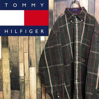 TOMMY HILFIGER - 【激レア】トミーヒルフィガー☆オールド刺繍ロゴ入りレトロチェックシャツ 90s
