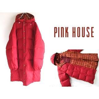 ピンクハウス(PINK HOUSE)のピンクハウス ロゴ刺繍 チェック裏地 フードダウンコート ゆったり(ダウンコート)