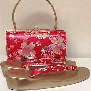 【振袖用・袴用】 草履バック セット(ゴールド × ピンク 桜柄 )〈LL〉(下駄/草履)