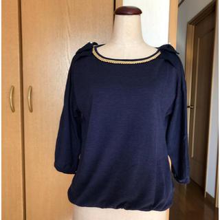 シマムラ(しまむら)の七分袖ニット XLサイズ ネイビー(ニット/セーター)