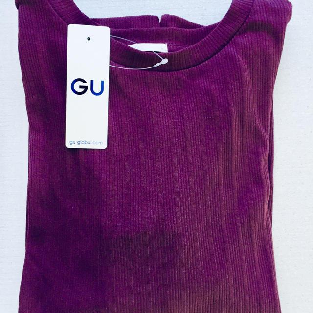 GU(ジーユー)の【新品タグ付き】GU 完売 パープル ランダムリブT(長袖)Z+X  レディースのトップス(カットソー(長袖/七分))の商品写真