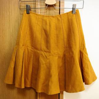 ナチュラルビューティーベーシック(NATURAL BEAUTY BASIC)のマスタードイエロー 膝上スカート(ミニスカート)