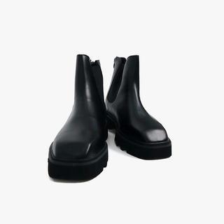マルタンマルジェラ(Maison Martin Margiela)の【美品】韓国 チャンキーソール スクウェアトゥ 牛革 サイドゴアブーツ(ブーツ)