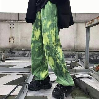 レディース 新品 古着 個性的 色彩  ズボン パンツ  緑 (その他)